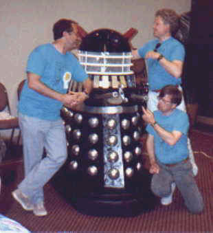 Fred the Dalek at TARDIScon 1989 with Colin Baker, Michael Keating and John Leeson